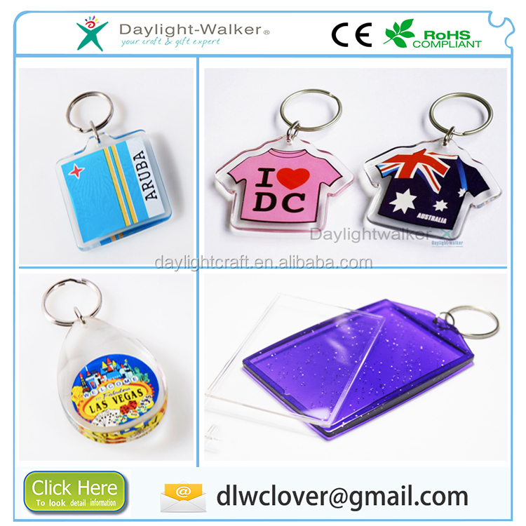 Promotional customized decor gift clear plastic acrylic blank photo frame keychain