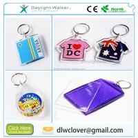 Promotional customized decor gift clear plastic acrylic blank photo frame keychain