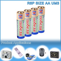 Mercury and cadmium-free battery um3 size aa r6p 1.5v