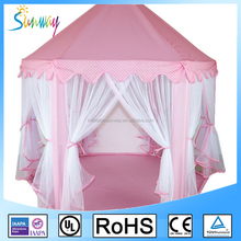 Pink Portable Princess Playhouse Folding Castle Indoor Outdoor Kids Tents