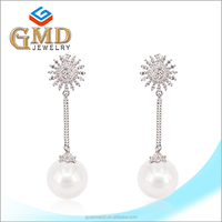 Fashion jewelry simple design handmade silver 925 double ball earrings