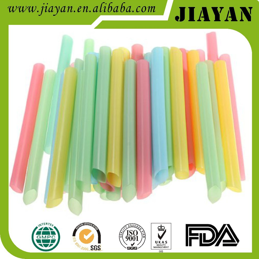 Colorful disposable straight bevel jumbo plastic straw