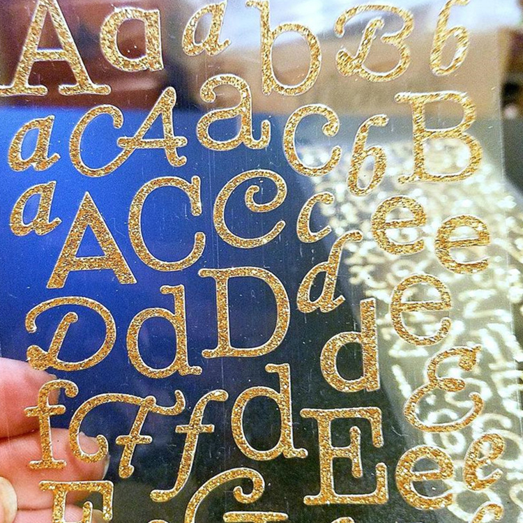 Custom letter design shaped glitter sticker printing for decoration