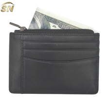 Handmade genuine leather men's zipper coin purse with card slots