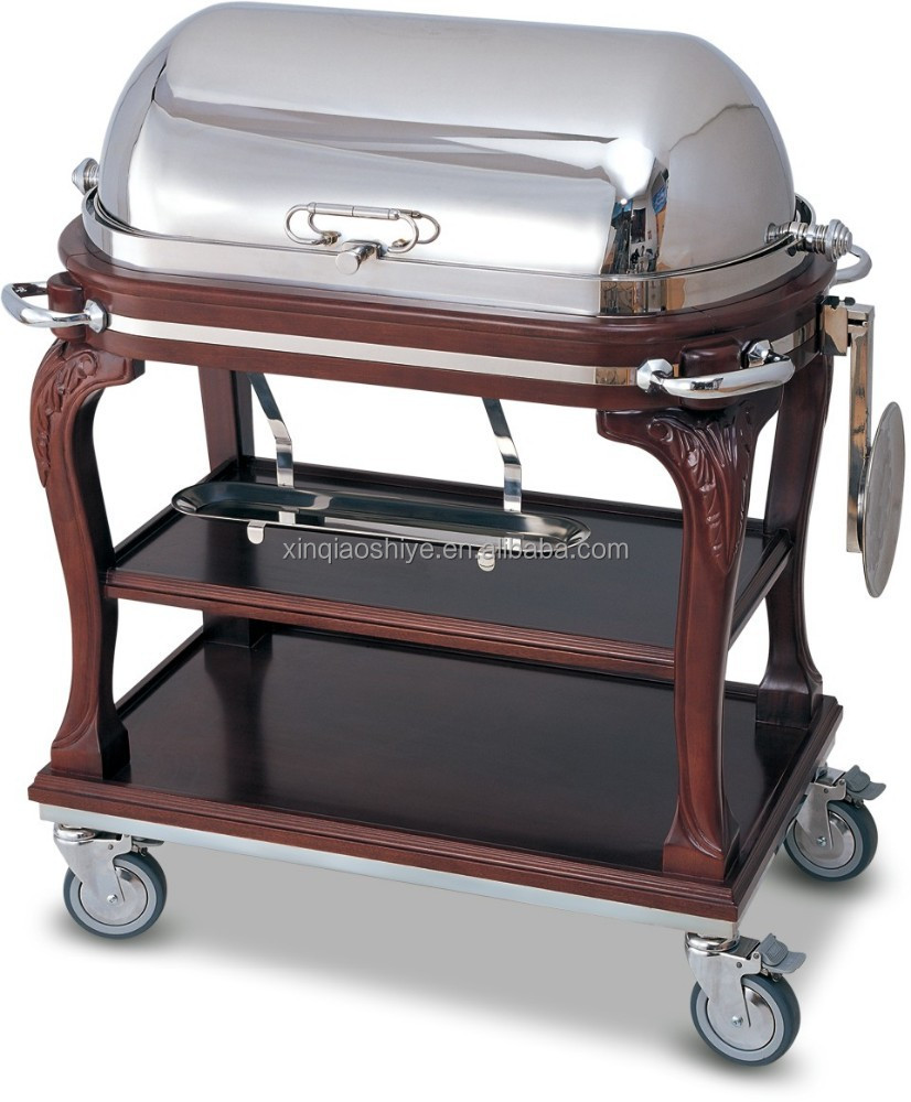 wooden & metal carving beef service trolley