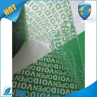 green PET security tape /tamper evident security sealing tape/tamper evident void tape