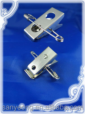 Bulldog badge clip / 2 hole badge clip with safety pin combo_502S