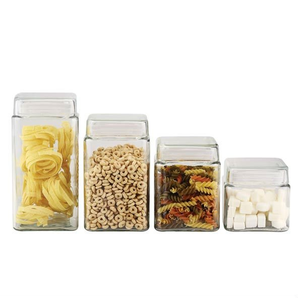 SINOGLASS 4 pcs square shape glass storage bottle jar canister with glass lid