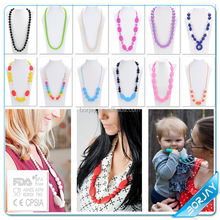 FDA Food Grade Ruby Beads Necklace Design,Baby Chew Necklace Wholesale