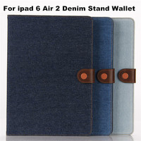 Online Shop China New Denim Leather Case For Ipad 6 Stand Wallet Cover With Card Slot