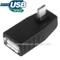 90 Degree Right Angle micro USB 2.0 Male to USB Female Host OTG Adapter with OTG Function for SamSung i9100 i9300