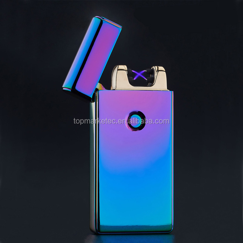 Usb charging ultra-thin windproof lighters double arc pulse electronic cigarette lighter