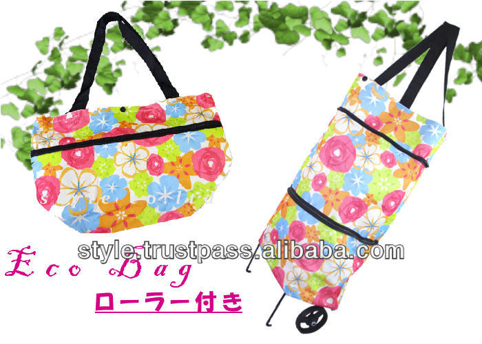eco-friendly foldable flower print shopping bag with wheels
