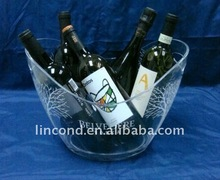 2013 hot sale 8L big custom best sell clear acrylic ice buckets/table wine bucket holder