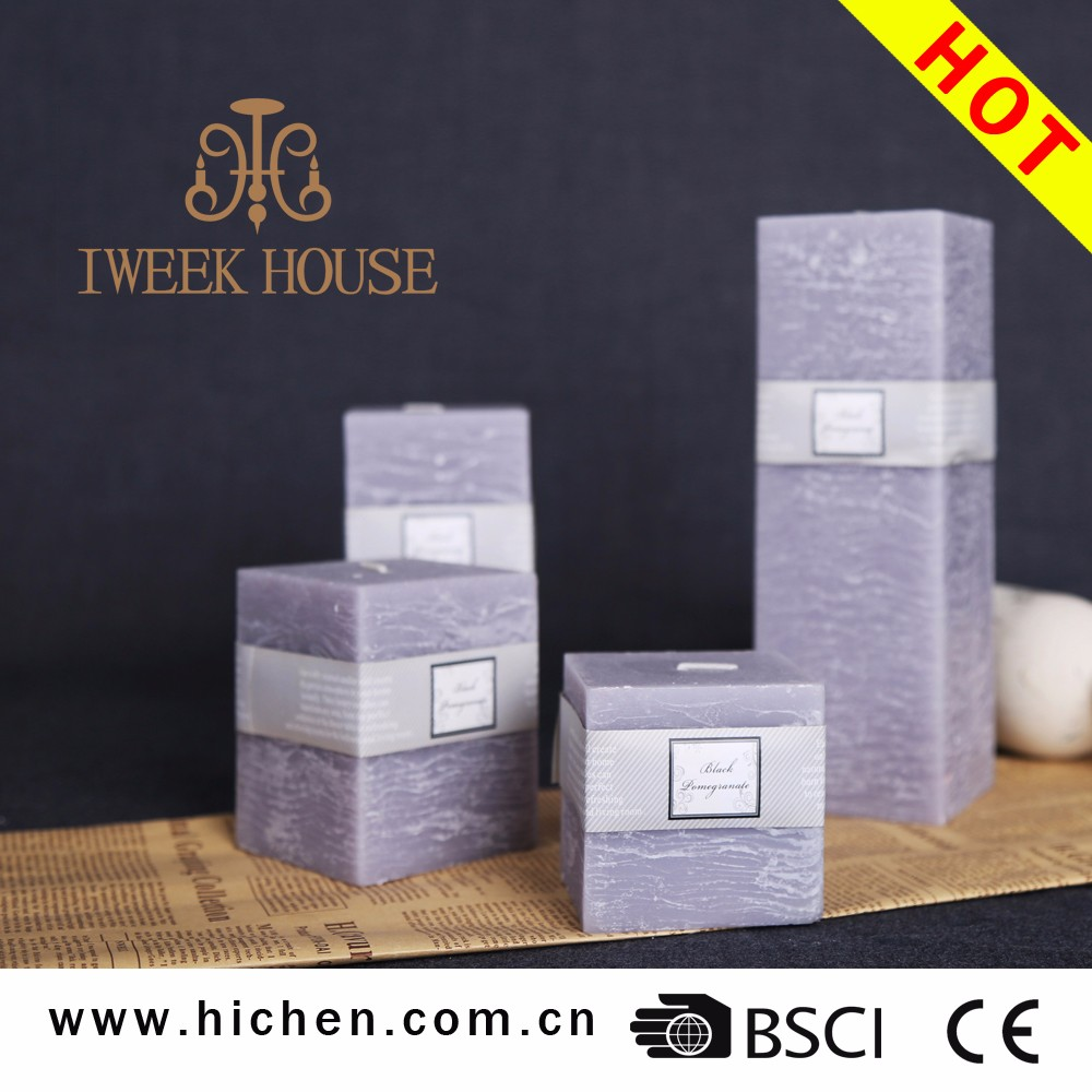 Strong scents with high quality paraffin wax making square shape scented pillar candle