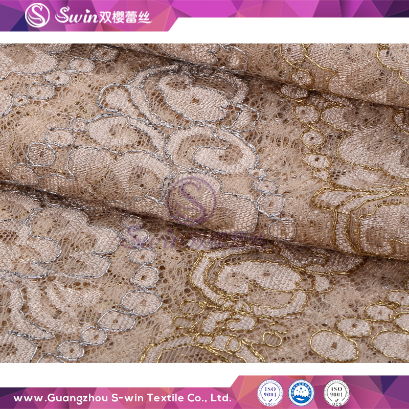 Latest Design Flower Design Gold and Silver Lace Metallic Mesh Fabric