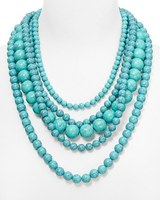 Bridesmaid Jewelry Chunky Bead Cluster Turquoise Strands Layered Choker Statement Necklace