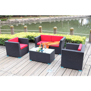 Cheap Price Cafe furniture wholesale patio Sofa Set PE Rattan Restaurant furniture