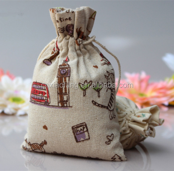 Picture printed wholesale fabric gift bag cheap/linen drawstring bag