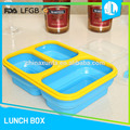 Trade assured new production silicone bento 3 compartment lunch box