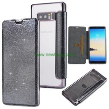 Ultra thin glitter electroplating Groove Tpu flip Pu leather card slot Case For Samsung Galaxy note8