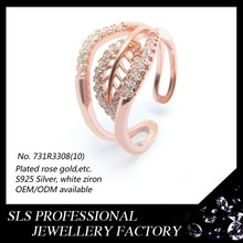 Wholesale simple and light silver ring with natural stone leaf shape rings for children gift