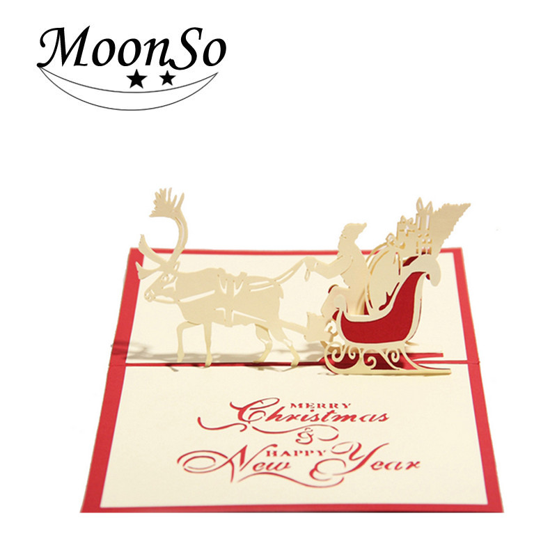 Lastest design Christmas card 3d pop up greeting card christmas gift Moonso AC5076