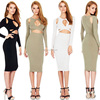 Sexy Ladies Long Sleeve Hollow Out Midi Length Cocktail Party Evening Dress