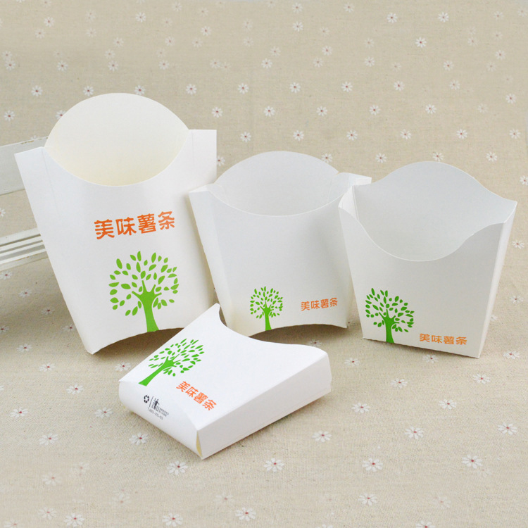 Hot Selling Disposable Fast Food Takeaway Packing White Paper French Fries Packaging Box
