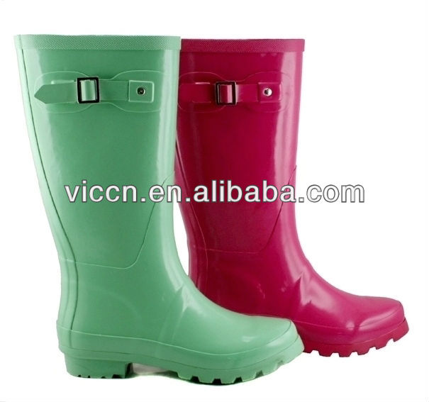 Rain Boots Pvc Fashion 2017 Lady Fashion Pink Wellies Safety Red Green Waterproof Rubber Sole Cheap Rain Shoes 2017 China D157