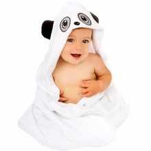 Factory Custom Premium diy animal pattern panda white organic bamboo fiber terry baby hooded bath towel gift set for toddler kid