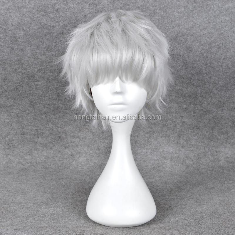 12inches Silver Short Kinky Curly AnimeAkise Cosplay Harajuku Male Wigs Cheap Men Synthetic Hair Wig With Bangs