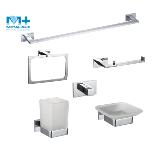 Square Zinc Alloy Chrome Plated Wall Mounted Accessory for Bathroom