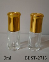 3ml perfume bottle attar roll on perfume bottle glass 3ml with gold aluminum cap