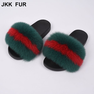 2018 Fashion Soft Fox Fur Sandals Pvc Custom Slippers Fur Slides For Woman