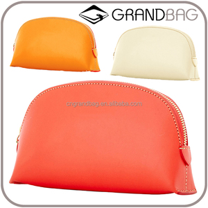 funny lovely genuine leather cosmetic bag round leather pouch sugar color lipstick case leather purse with zipper closure