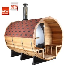 Canadian red cedar barrel sauna room with fiber glass tile and fiber glass base