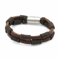 2020 new style Fashion Stainless Steel Jewelry Men Genuine Brown Leather Bracelet Mens Accessories