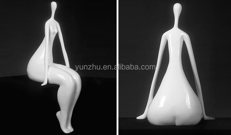 white red black resin naked lady home decration statue art piece