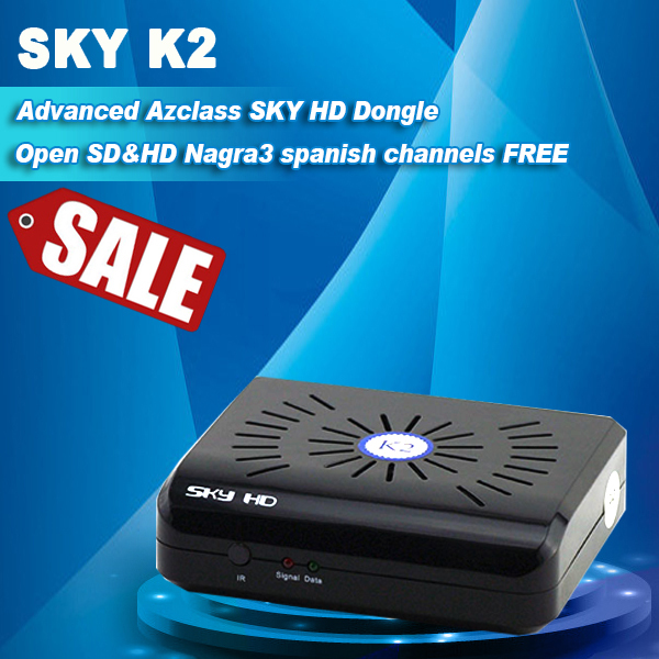 China hot selling 20pcs/lot azclass sky hd k2 dongle Nagra 3 iks free for South America