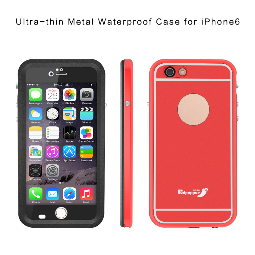 Ultra-thin Lightweight Aluminum Metal Middle Frame Waterproof Case for iPhone 6S Plus