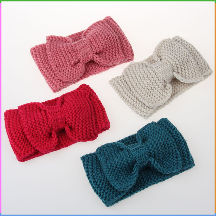 100% Acrylic Material 21x12cm Crochet Bow Knit Headband Knitted Design