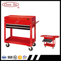 2016 four-wheeled professional tool cart/tool trolley with drawers and handle, red