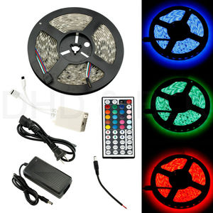 12V 5M 5050 RGB SMD LED Waterproof Flexible Strip Light 300 LEDs Lamp Flash