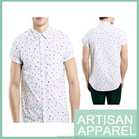 2016 new design for man Short Sleeve Casual Shirts wholesale white print shirts for man