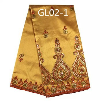 2015 fashion indian row silk george lace fabric gold color for making dresses