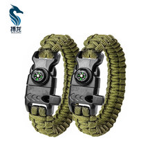 high quality dark green survival equipment paracord bracelet manufacturer