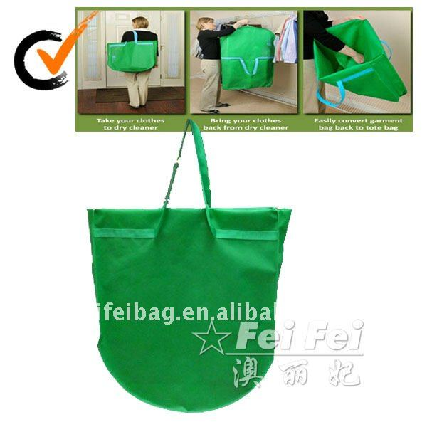 Suit-tote double use non woven bridal bags cover with PVC pocket