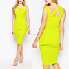 Western design strappy midi adult lady girls yellow evening party dress