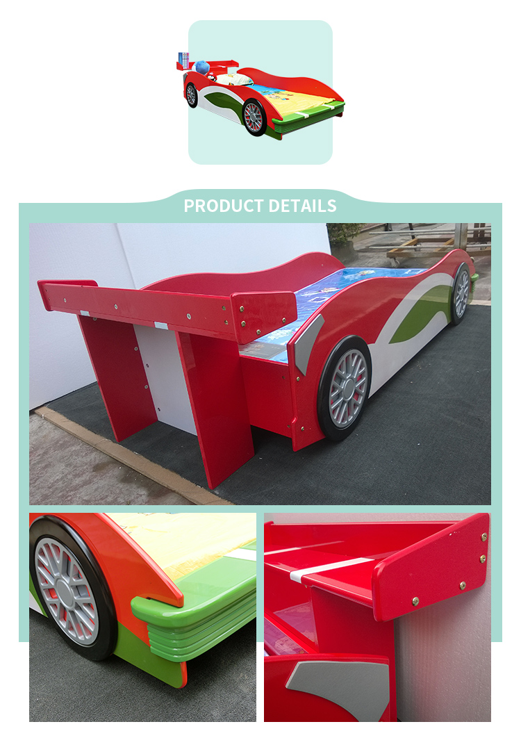 2019 New Cheap MDF Car Bed for Kids Children Bedroom Furniture Race Car Bed--K5